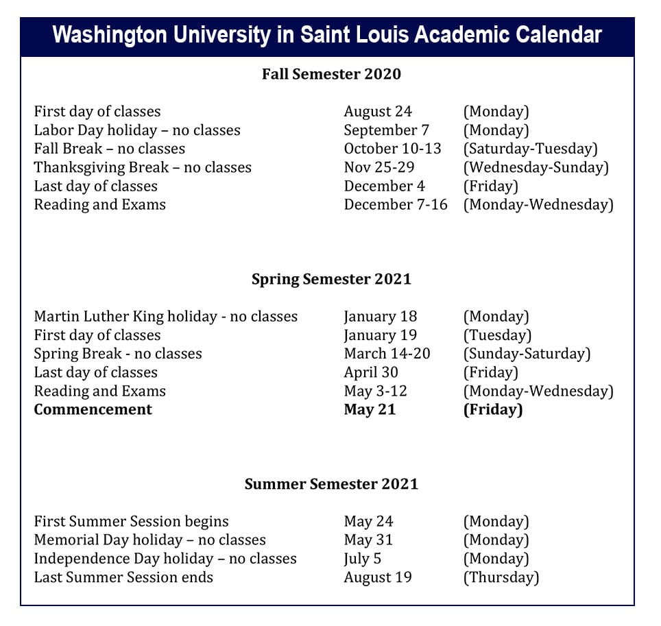 Washington University Calendar