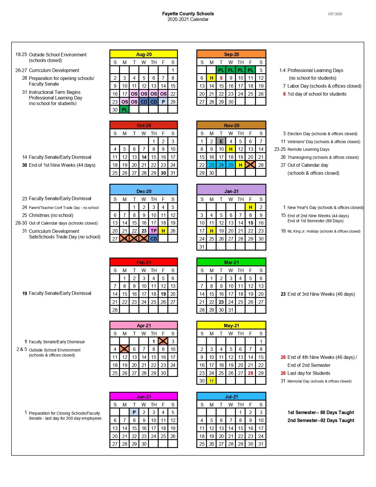 Fayette County School Calendar 2020-2021