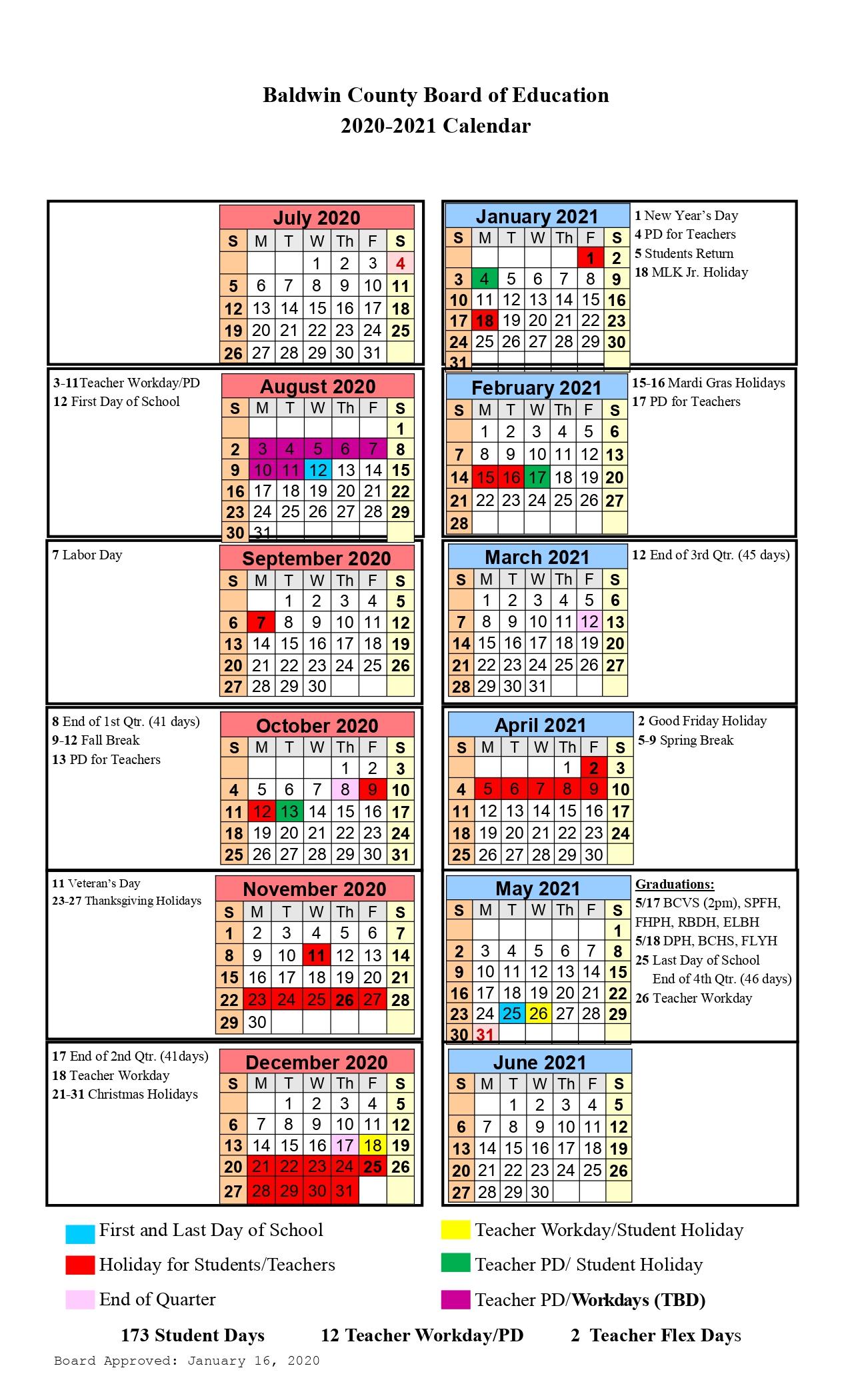Baldwin County School Calendar 2021-2022 Baldwin County Public Schools Calendar 2021 and 2022