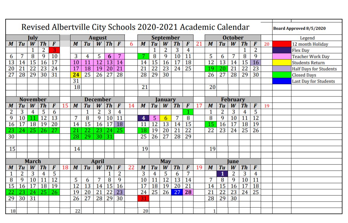 Albertville City Schools Calendar 2020-2021