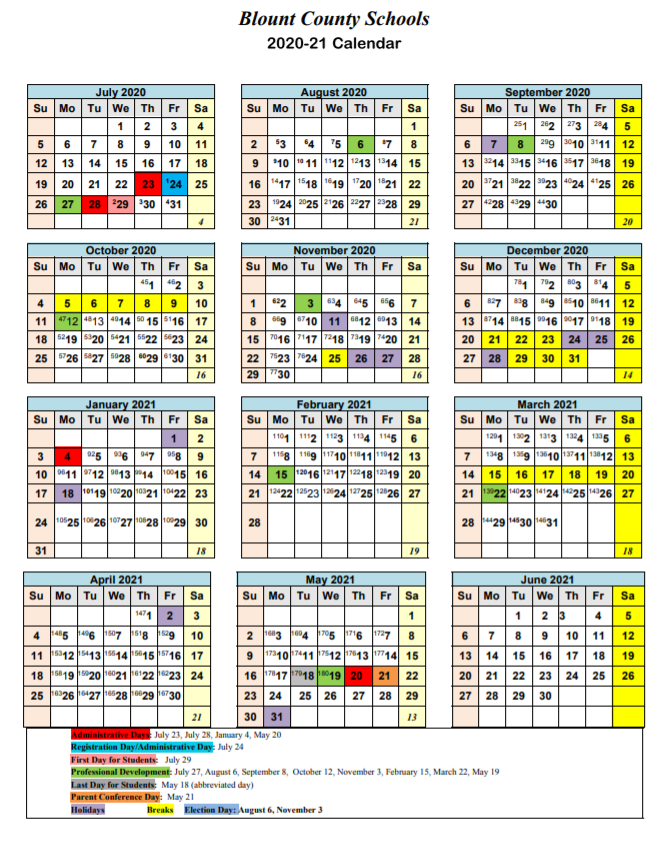 Blount County Schools Calendar 2021