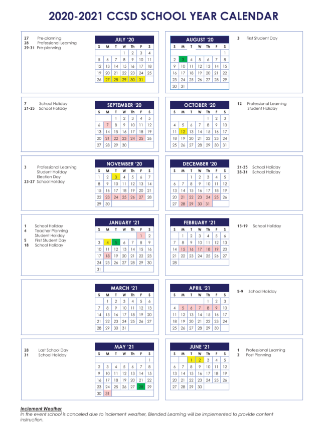 Cherokee County Schools Calendar 2020-2021