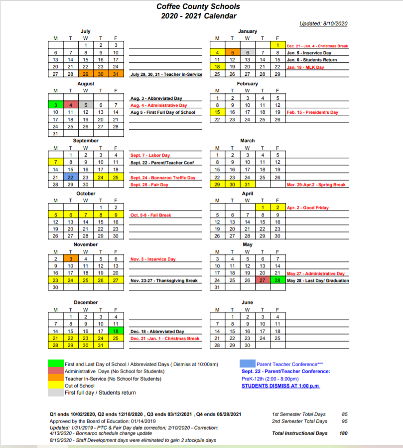 Coffee County School Calendar 2021-2022