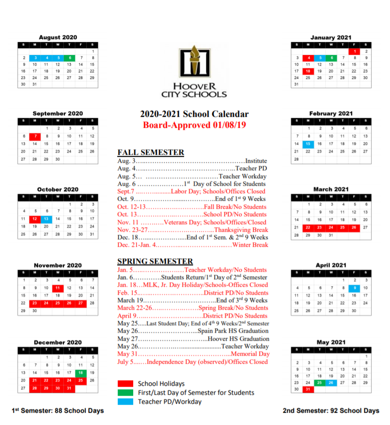 Hoover City School Calendar 2020-2021