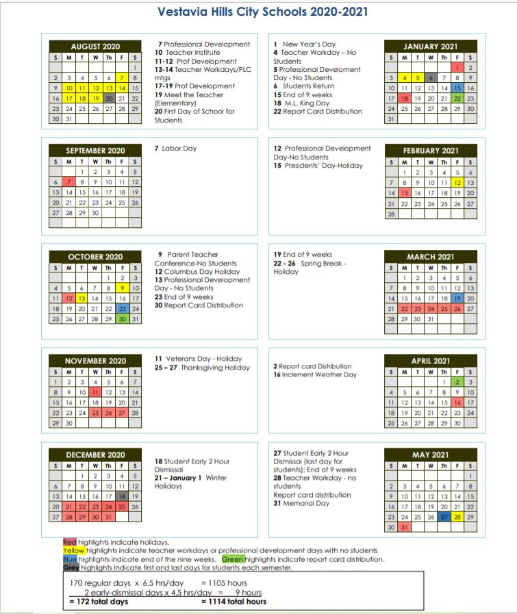 Vestavia Hills City Schools Calendar 2020