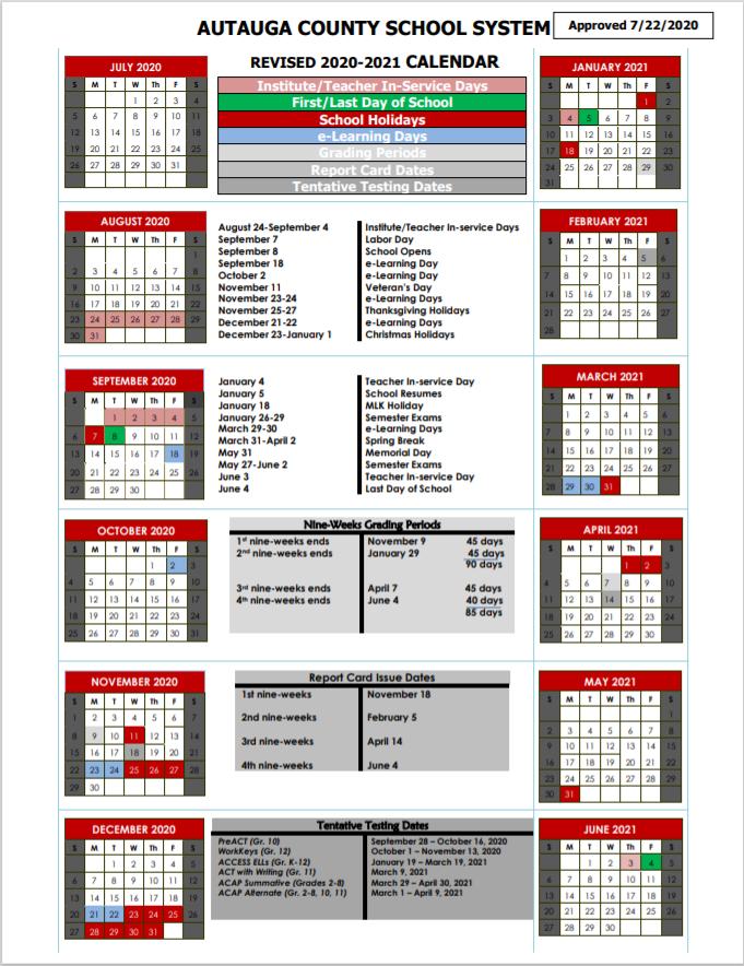 Autauga School Calendar 2020-2021