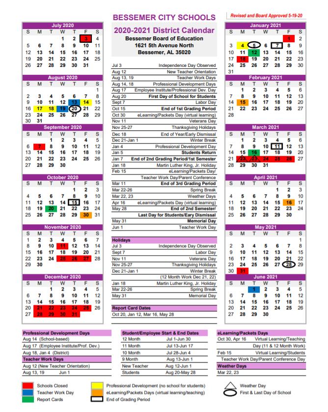 Bessemer City Schools Calendar 2020-2021