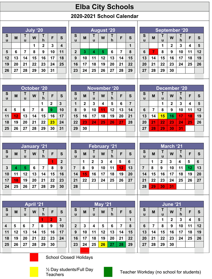 Elba City School Calendar 2020-2021