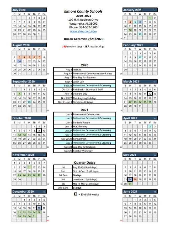 Elmore County School Calendar 2020-2021