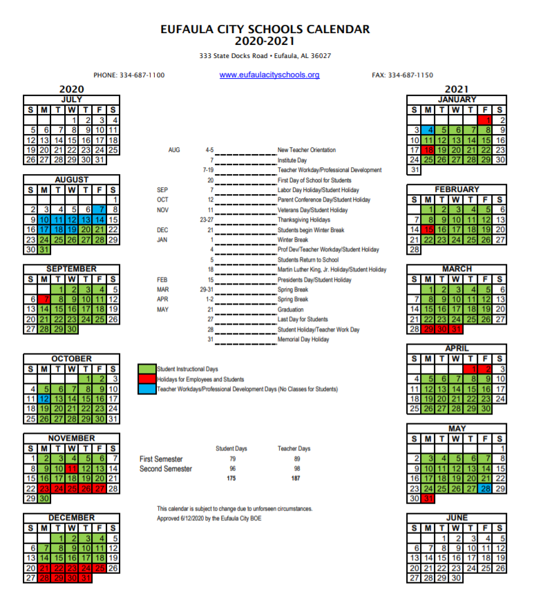 Eufaula city school 2020-2021 Calendar