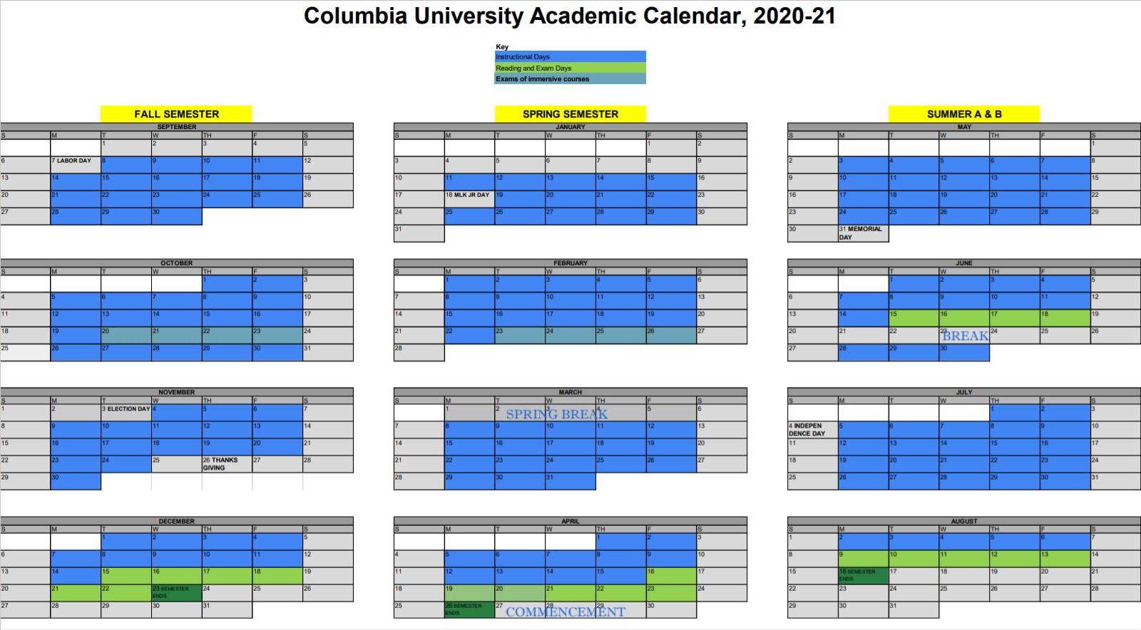 Columbia University Calendar 2020-2021